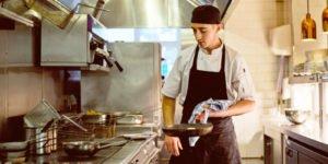Chef in pub kitchen